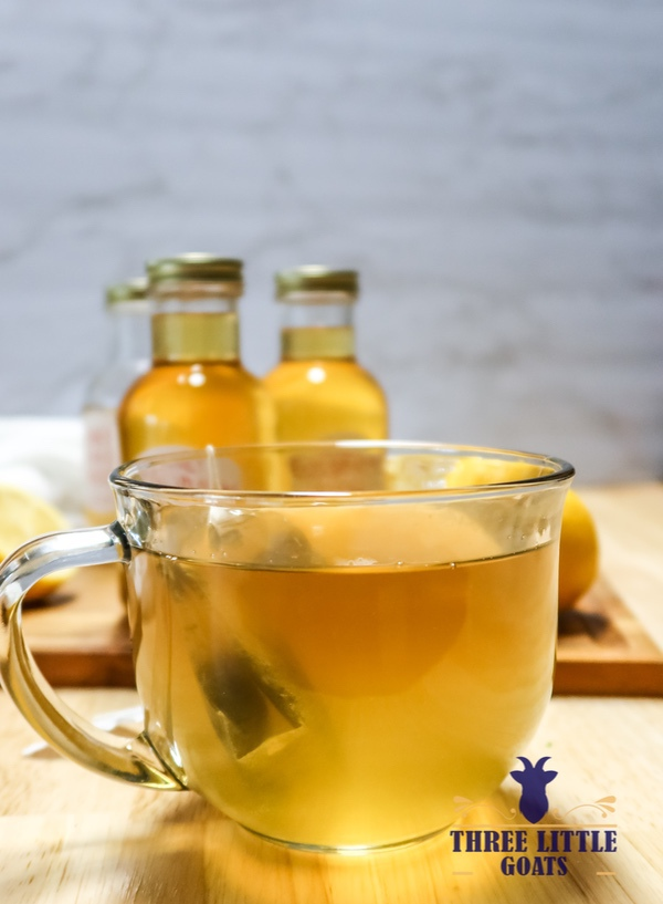 Honey lemon ginger syrup recipe with free printable label