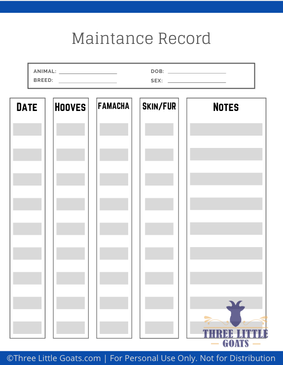 Keep track of your goat herds health with these Free Goat Health Printables